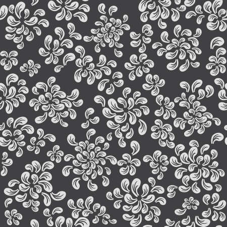 Repeating floral and feather pattern, white on grey Stock Vector - 18347732