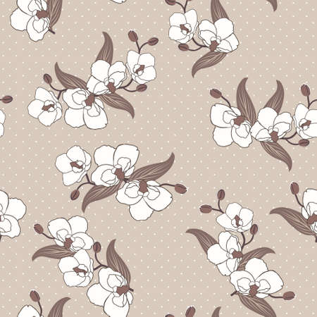 Seamless floral wallpaper with branches of orchid flowers Vector
