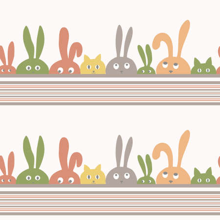 Seamless background with cartoon rabbits and kittens Vector