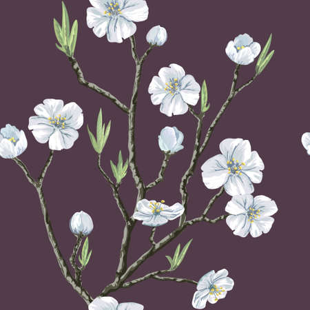 Seamless vector floral pattern with flowering cherry tree