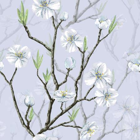 桜の開花ツリーとシームレスなベクターの花柄のパターン