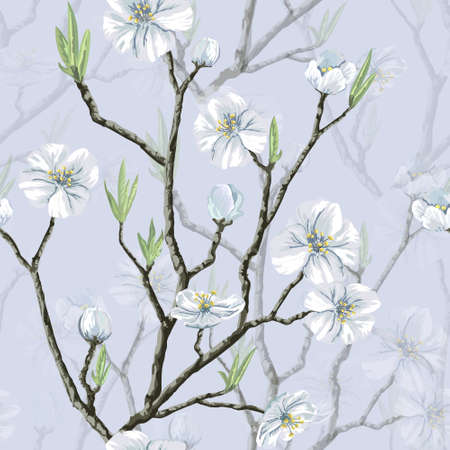 Seamless vector floral pattern with flowering cherry tree Vector