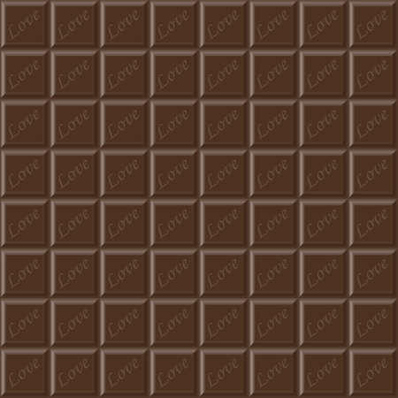 deliciously: Vector chocolate bar seamless texture with hearts Illustration