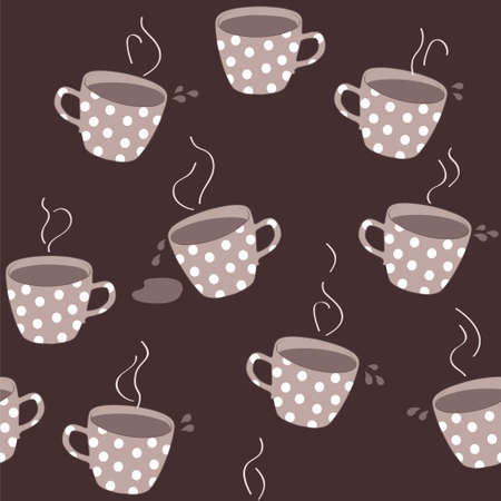 Seamless pattern with teacups, vector cartoon illustration Vector