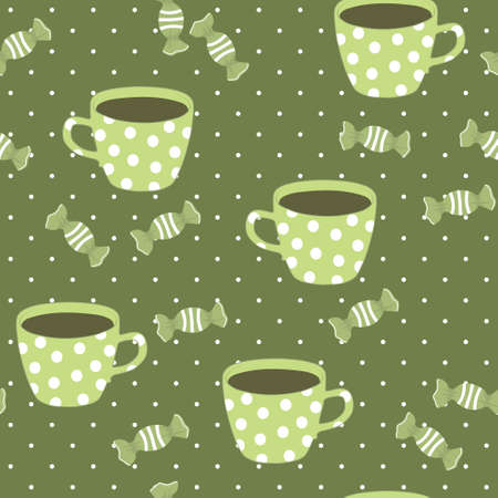 Seamless pattern with teacups and candies, vector cartoon illustration Vector