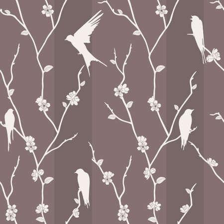 Beautiful vector seamless pattern with bird on sakura branches Illustration