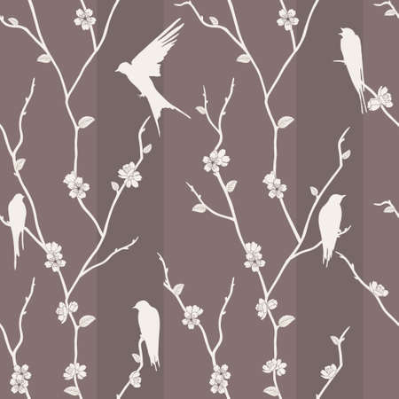 Beautiful vector seamless pattern with bird on sakura branches Ilustração