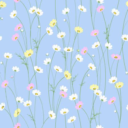 小さなかわいいカモミールの花とベクターのシームレス テクスチャ  イラスト・ベクター素材