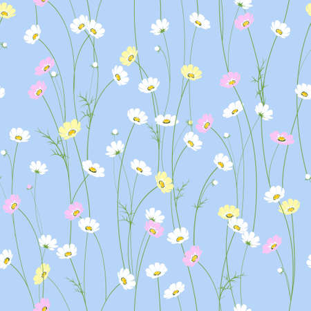 daisy field: Vector seamless texture with little cute chamomile flowers Illustration