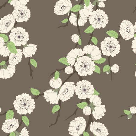 Vector seamless pattern with sakura branch, beige on brown