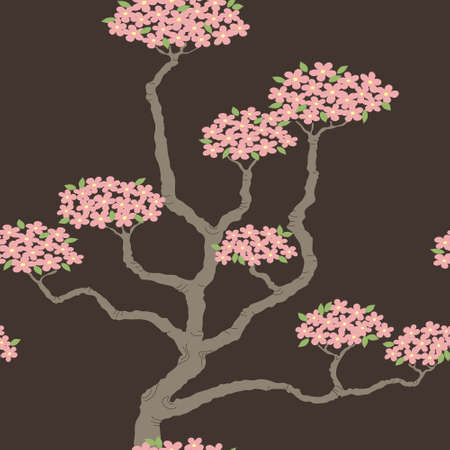 Elegant seamless pattern with abstract bonsai tree Vector
