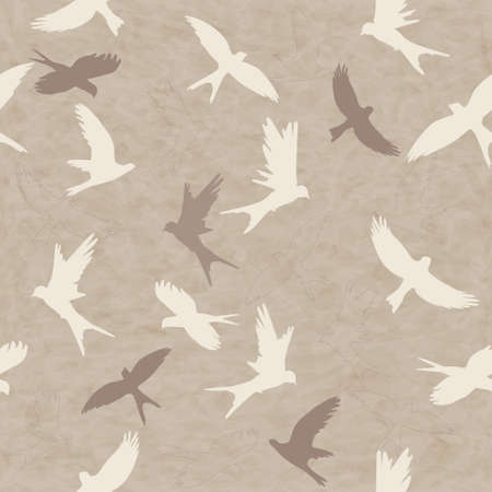 Seamless retro pattern with silhouettes of birds Vector