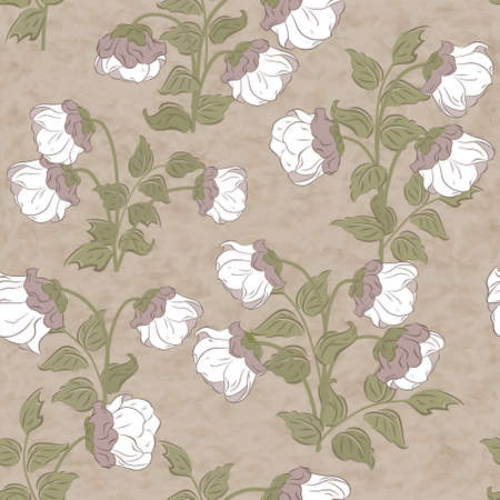 bluebell: Retro floral vector seamless pattern with bluebell flowers. Illustration