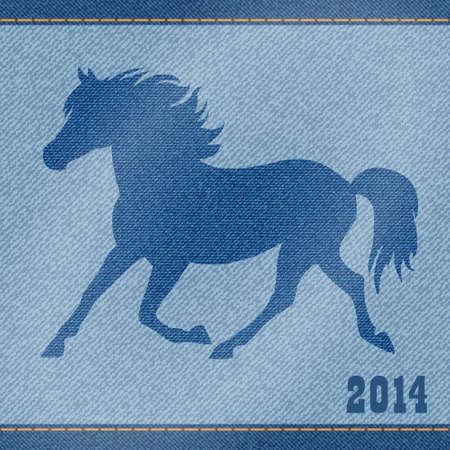 sewed: Elegance blue denim jeans horse  Christmas card  Illustration