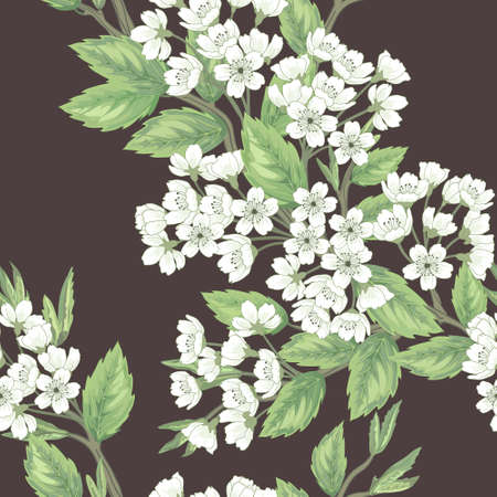 cherry pattern: Beautiful  seamless spring pattern with green branches.
