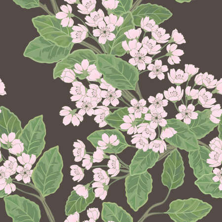 Beautiful  seamless spring pattern with green branches. Vector
