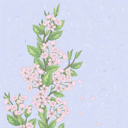 Beautiful   spring pattern with green branches and flowers. Vector