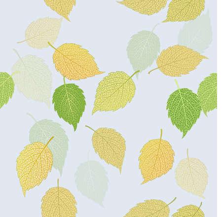 quaint: Beautiful illustration of green and yellow autumn leaves. Illustration