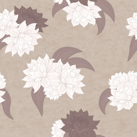 Beautiful vector seamless flowers pattern with dahlias. Retro. Vector