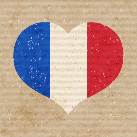National flag of France. vector retro illustration. Vector