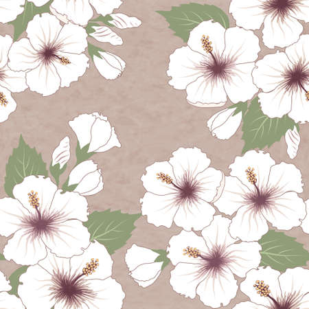 hawaii flower: Vector seamless tropical pattern with hibiscus flowers
