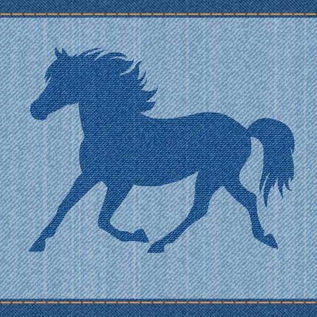 sewed: Elegance beautiful blue denim jeans horse.