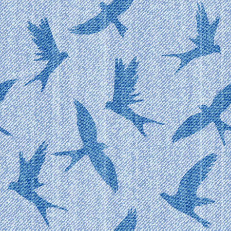 Elegance seamless vector pattern with  jeans brids. Vector