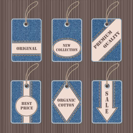 Vector set of jeans tags and labels Vector