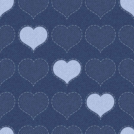 jeans texture: Elegant  seamless vector illustration with hearts and lace.