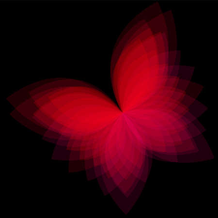Background with bright geometric butterfly. Flow  spectral light. Vector
