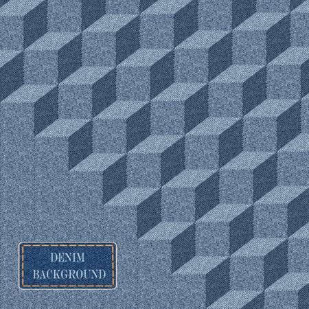 sewed: Elegance  pattern with denim jeans background.