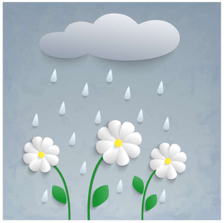 blue daisy: Beautiful stylized 3d illustration with rain, flowers and cloud.