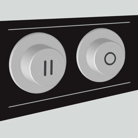 Vector illustration of volume button-switch with steel texture Vector