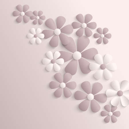 Abstract beige background with 3d paper sakura flowers. Vector
