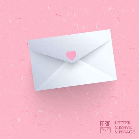 missive: Realistic closed envelope on pink cardboard background.  Illustration