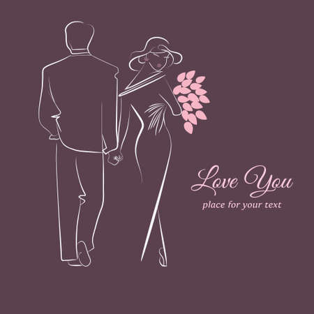 Elegant card with silhouette of couples in love. Vector