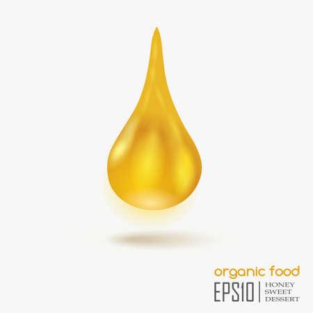 aceite de oliva virgen extra: Ca�da realista de miel aislado en el fondo blanco. Vectores