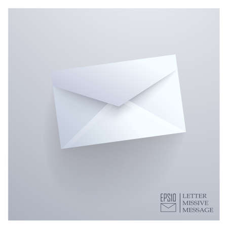Realistic closed envelope on gray background. Vector