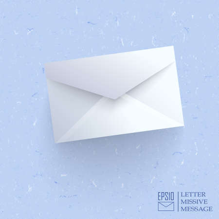 Realistic closed envelope on blue cardboard  background.  Vector