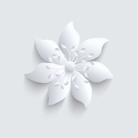 3d flower: Abstract gray background with 3d elegant paper  flower. Illustration