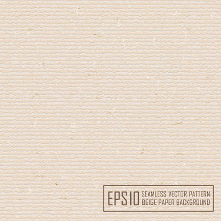 recycled paper: Textured beige paper with natural fiber parts. Seamless pattern.