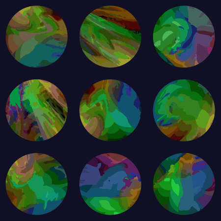 Beautiful set of  fantastic multicolored Planets. Seamless  pattern. Vector