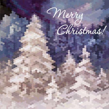 hoar frost: Fantastic beautiful vector winter landscape.  Christmas card.