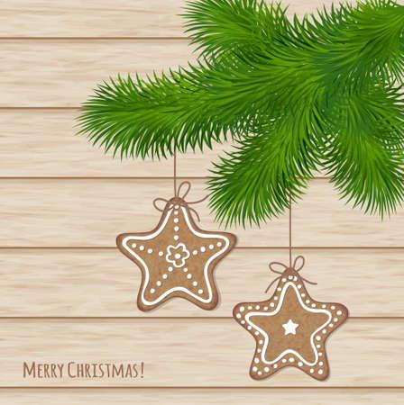 holiday cookies: Tarjeta de Navidad elegante con galletas decorativas de vacaciones Vectores