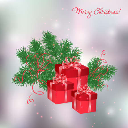 desember: Christmas background with red gift boxes and fir twigs Illustration
