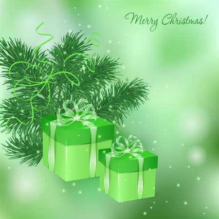 desember: Christmas green background with gift boxes and fir twigs