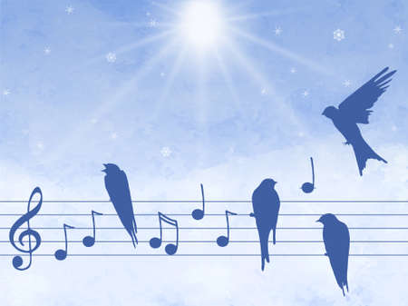 singing silhouette: Elegant abctract illustration of music notes with birds