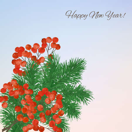 Winter background with  branches rowan berry  and fir twigs.  Christmas winter landscape greeting card