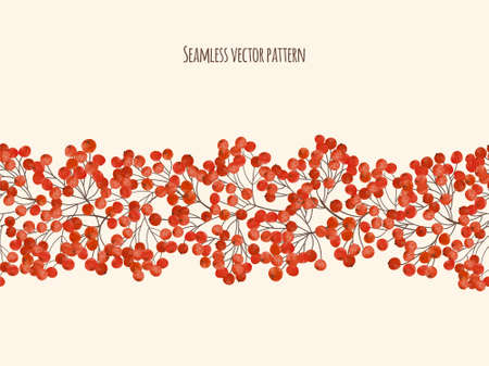 Beautiful watercolor hand painting seamless illustration  with  branches rowan berry