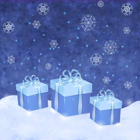 desember: Christmas blue background with gift boxes and snowflakes